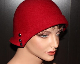 30's Flapper Hat - Red