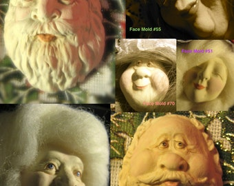 YOUR CHOICE  - FG Silicone Doll Face Cab Casting Molds of Santa, Wizard, Mrs. Claus or Female Character