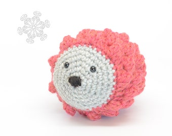 Crochet Porcupine, Coral and Grey, Natural Wool Toy