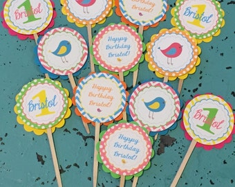 PREPPY BIRDIE Bright Colors Birthday Party Cupcake Toppers 12 {One Dozen} - Party Packs Available