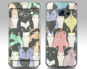 CAT PATTERN Galaxy Decal Galaxy Skin Galaxy Cover Galaxy S6 Skin, Galaxy S6 Edge Decal Galaxy Note Skin Galaxy Note Decal Cover
