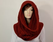 Color Choices, Deep Red Large Cowl Scarf, Warm Winter Scarf, Hooded Scarf, Wide Infinity Scarf, Red Infinity Scarf, MarlowsGiftCottage