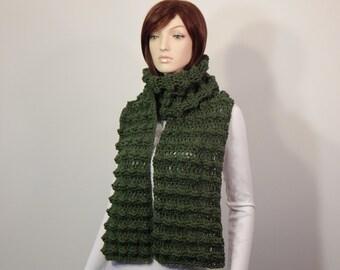Crochet PATTERN PDF, The Uplands Scarf Crochet Pattern, Puff Detailed Scarf, Long Wrap Scarf Crochet Pattern, MarlowsGiftCottage