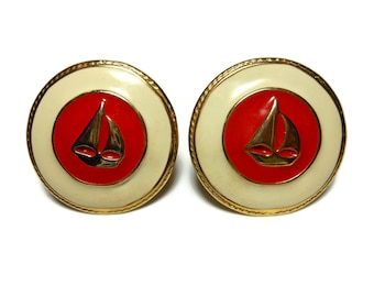 Sailboat earrings, red and winter white, button style with gold boat on red enamel and a beige border and gold rims, nautical clip earrings