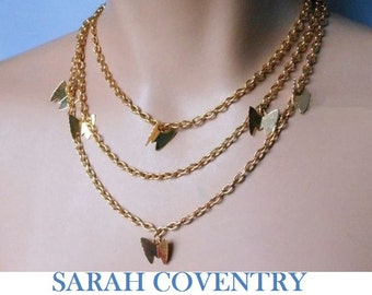 Sarah Coventry necklaces, four looks from 2 necklaces, gold chain with butterfly charms, comes as a set can be worn four different ways