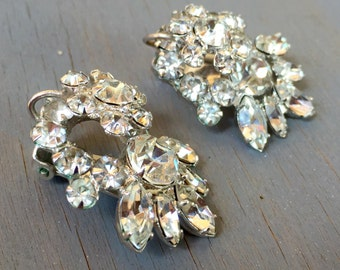 Vintage Juliana Earrings Clear Rhinestone Earrings Wedding Floral Flowers Delizza Elster D and E 1960s Bridal Jewelry
