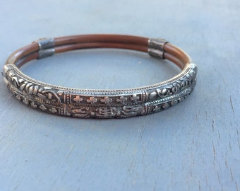 Antique Chinese Bamboo Bangle Bracelet Silver Repousse Rare Jewelry gift for her