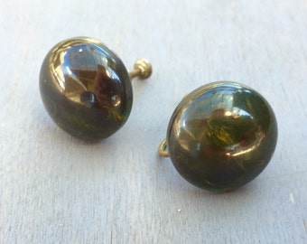 Green Bakelite Button Earrings 1950s Vintage Plastics Jewelry Dark Olive Spinach Swirl