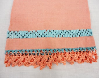 """Guest Linen Hand Towel With Aqua Embroidery on Apricot-Orange Linen - 12"""" x 17"""""""