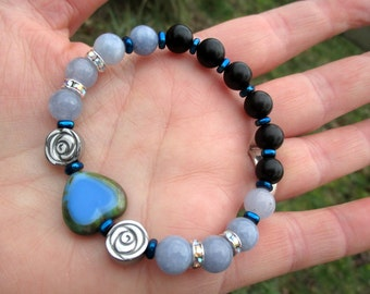 TRUE BLUE Devotional Bracelet - Blue Czech Glass Heart with Aquamarine & Carved Silver Hematite Roses -  godspouse, Wicca, witchcraft