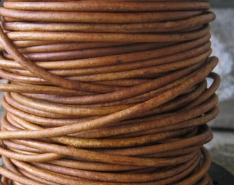 2MM Round Leather Cord 5 yds Natural Dyed Western Brown Lace