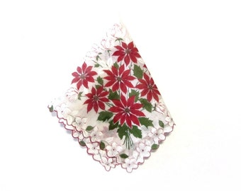 Red Poinsettia Scalloped Edge Hankie White On White Daffodils and Roses Holiday Handkerchief