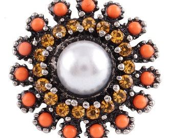 1 PC - 18MM Orange Yellow Rhinestone Silver Charm for Candy Snap Jewelry KC7112 Cc2373