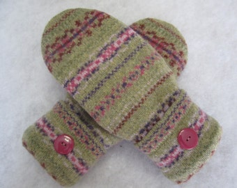 Women's large lambswool Fair Isle mittens rose and olive fleece lined  RTS