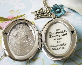 Locket with inspirational quote be yourself  authentic self oval locket pendant necklace for women with inspiring message