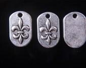 10 Fleur-de-Lis Charms, Antique Silver 14 x 8 mm U.S Seller - ts897