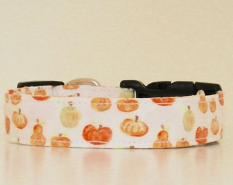 Halloween Thanksgiving Pumpkins Gourds Squash Watercolor Fall Dog Collar Wedding Accessories Made to Order