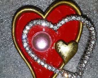 Heart to Heart Embellished Brooch/Pin