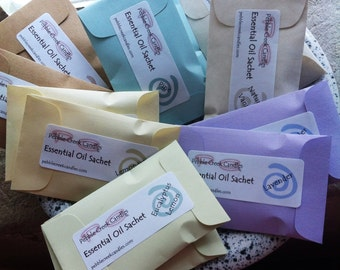 12 Aromatherapy Sachets Essential Oils Lavender, Lemongrass, Eco Friendly Favors Gift Natural Place Cards in Seed Packets Pastel Christmas