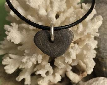 Beach stone jewelry- heart rock pendant