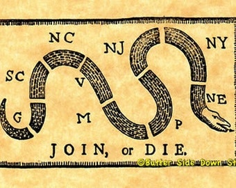 Join or Die Rubber Stamp American Revolutionary War