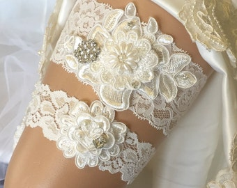 Wedding garter set, Garter set, Garter, Ivory garter set, Wedding, Wedding garter, Bridal garter set, Lace garter set, Wedding garter