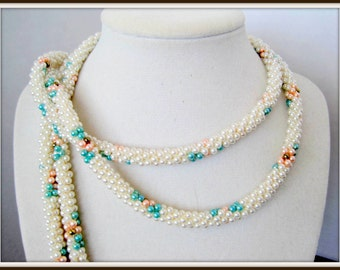 Glass Seed Bead Necklace -  Long Lariat - Multicolor 54 Inch - with Tassels