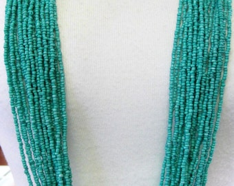 Turquoise Multistrand Necklace -  Bead Torsade Necklace - 20 Strand Necklace