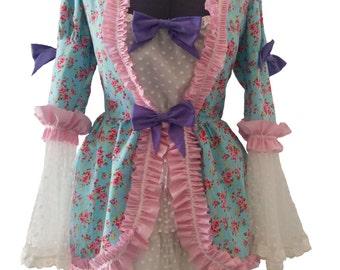 Handmade Lolita Bustle Over Dress Floral Ruffle Bow