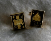 CUFF LINKS Vintage Ace of Spades and King of Hearts Cards Cufflinks Mid Century