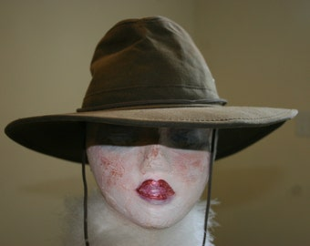 Vintage Outback Hat Oiled Canvas Aussie Outback Style, Hippie, Bohemian,Henschel Made in USA Size Medium