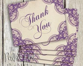 Custom listing for Nadine P - Custom Colour Lace thank you cards