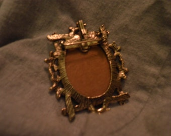 Vintage Pin of Handpainted Cross with Gold Tone Frame