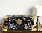 Vintage Chinese Lacquerware Box Campaign Style Black Gold Jewelry Box Brass Fittings Inlaid Shell Chinoiserie Chic
