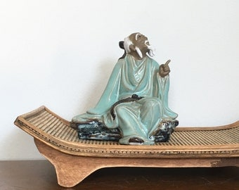 Vintage Chinese Mudman Mud Man Statue Figurine Celadon Asian Pottery Earthenware