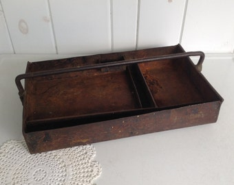 """Hand Wrought Iron Tool Tote, Metal Handled Antique Industrial Tool Caddy Industrial Storage Rustic Storage Rustic Tool Box Tray 16.75"""" x 10"""""""