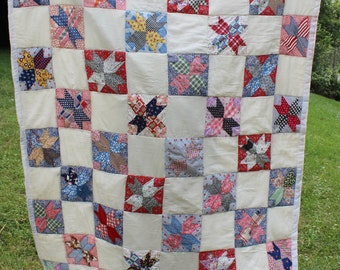 Quilt- Full- Double Size- Hand Made Patchwork- Vintage/ Antique- Multi-color-  Eight Point Star- Size 57 x 78 inches- Wall Hanging