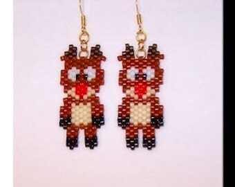 Beaded Rudolph the red-nosed reindeer earrings