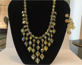 Vintage Yellow Crystal Fringe Bib Necklace Earring Set