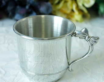 Engraved Pewter Baby Cup with Bow Handle