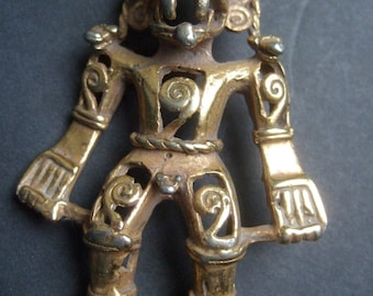Unique Gilt Metal Tribal Figure Brooch