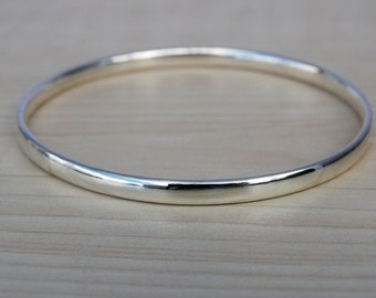 Silver Bangle - Solid Silver Heavy Bangle - Sterling Silver