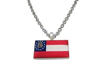 Georgia State Flag Pendant Necklace