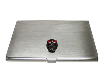 Skull with Red Eyes Business Card Holder