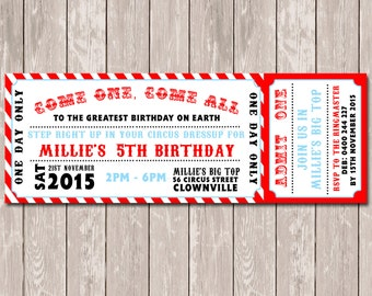 Circus Carnival Personalised Ticket Style Birthday Invitations - YOU PRINT