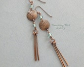 Extra Long Boho Fringe Earrings, Copper Star Design on Stamped Metal Disc with Blue Indonesian Glass Beads, Tribal Jewelry