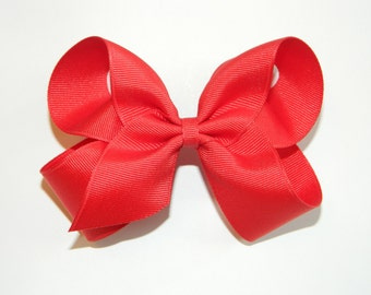 Red Large Hair Bow - Red Hair Bows, Red Bow Headband, Holiday Hair Bow, Valentine Hair Bow, Christmas Hair Bow, Red Bows, Red Basic Bow