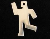 ALUMINUM Modernist Abstract Running Man Brooch.