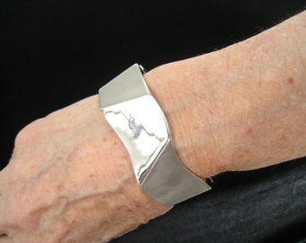 SALE Modernist Clamper Bracelet is Covered in Rich Shiny Silver Plating.  Outer Surface has 8 Angled Planes for a Heavy Industrial Look.
