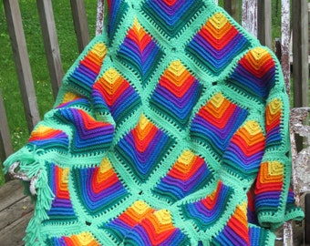 Beautiful Rainbow Afghan with Green Fringe